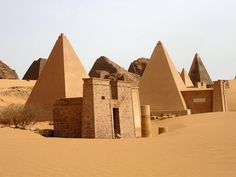 Pyramids of Meroe (Sudan) – Just south of Egypt, a completely different civilization, the Kush, built a completely different sort of pyramid by the city of Meroe. Less vast monuments and more very large gravestones, the graveyards in Meroe contain over fifty pyramids for royalty, set within a vast, rocky desert landscape. Due to politics, Sudan can be a difficult place to travel.