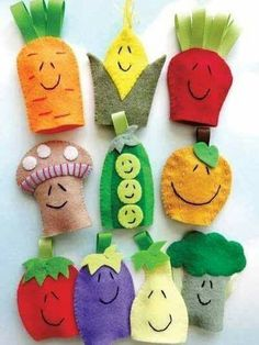 Most recent Images hand sewing patterns Tips Vegetable Felt Finger Puppets Sewing Pattern PDF ePATTERN Kids Crafts, Diy Projects For Kids, Summer Crafts, Felt Crafts, Sewing Projects, Felt Projects, Felt Puppets, Felt Finger Puppets, Felt Fruit