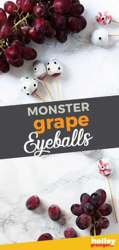 Halloween Recipe: Monster Grape Eyeballs - For a healthy and equally gory Halloween snack, serve Monster Grape Eyeballs featuring frozen grapes, yogurt and strawberry juice. Healthy Halloween Snacks, Healthy Meals For Kids, Kids Meals, Halloween Treats, Healthy Snacks, Healthy Recipes, Recipe Monster, Halloween Breakfast, Frozen Grapes