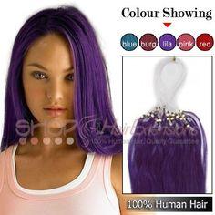 18 Inch 100s Micro Loop Ring Premium Remy Hair Extensions Purple