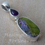 Lavender Stichtite In Green Serpentine and Amethyst pendant