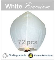 Our White Premium Sky Lanterns are the largest, most colorful, highest quality sky lanterns we carry, and are hand-made from the highest quality materials, with no plastic parts, and are the only lanterns that are both flame resistant and biodegradable. Really want these for the wedding