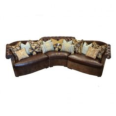 Old World Tuscan Style Leather & Fabric Sectional Sofa 💕SHOP💕 www.crownjewel.design