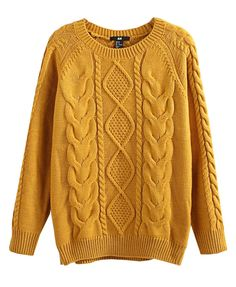 Raglan Sleeves Twist Knit Pullover