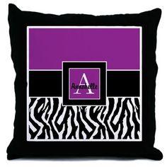 Purple zebra monogram personalized
