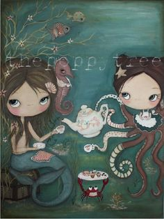 mermaid painting. she would love this for her room!
