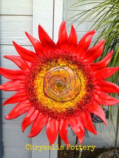"""Sun Fire"" Sunflowers by Chrysalis Pottery www.facebook.com/BarbJohnson.pottery"