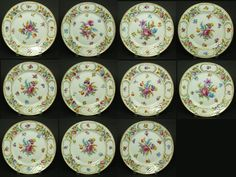 "Lovely plates Bottom row middle....no glare on rim, good for duplicating! This is my China collection pattern - ""DresdenFlowers""."