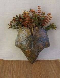 Ceramic Leaf Wall Pocket, Medium - Made with a Real Cucumber Leaf - Clay Succulent/Plant Holder - Pottery Wall Hanging