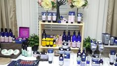 NYR products display table Neal's Yard, Neals Yard Remedies, Yard Party, Exhibition Display, Party Ideas, Organic, Decorations, Drinks, Business