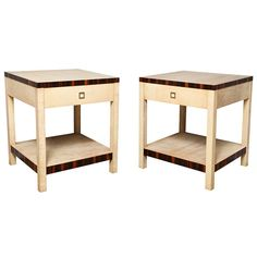 Pair of Jean-Michel Frank Style Parchment Veneered Side Tables | From a unique collection of antique and modern side tables at https://www.1stdibs.com/furniture/tables/side-tables/