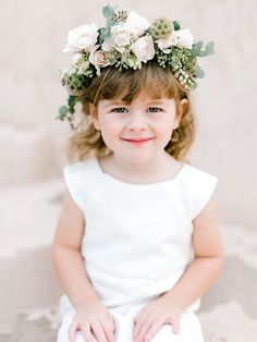 Spring Blooms & Greenery - Garden Wedding Inspiration in a Soft Palette of Blush & Chartreuse - Chic Vintage Brides Cute Flower Girl Dresses, Flower Girls, Flower Crowns, Phuket Wedding, Chic Vintage Brides, Garden Wedding Inspiration, Bridesmaid Flowers, Bridesmaid Hair, Spring Blooms