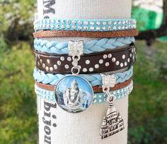"""Bracelet manchette """" India """" Cabochon Statue Indienne Taj Mahal turquoise et marron simili cuir et suédine pour femme : Bracelet par libertylily"""