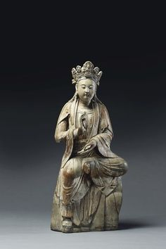 Kwan Yin, Chine, dynastie Song (XIIe-XIIIe siècle) trace de laque or et polychrome
