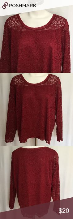 Emma James Lace Crimson  Emma James Lace Top in crimson Red. Great shape. Long sleeve. Stretchy insert and lace. Very pretty. 1X Emma James Tops