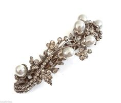 Beautiful Pearl Crystal Flower Leaf Design Barrette Hair Clip Bridal Wedding