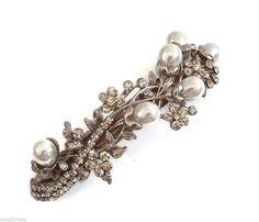 Beautiful Pearl Crystal Flower Leaf Design Barrette Hair Clip Bridal Wedding
