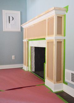 diy mantle - fire place surround from Young House Love… Fireplace Redo, Fireplace Remodel, Fireplace Mantle, Fireplace Surrounds, Fireplace Design, Craftsman Fireplace, Fireplace Surround Diy, Fireplace Facade, Fireplace Bookshelves