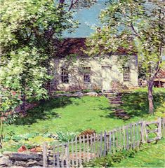 """""""The Little White House,"""" Willard Leroy Metcalf, 1919, oil on canvas, 24 1/8 x 24 1/8"""", private collection."""