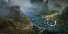 Rivers of Past by FerdinandLadera.deviantart.com on @DeviantArt #fantasylandscape #conceptart #illustration