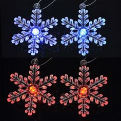 Clear crystal snowflakes with flashing LED colour changing lights. Ideal for use as Christmas tree hanging decorations. One pack contains four snowflake shaped tree decorations with hanging string. Xmas Tree Decorations, Hanging Decorations, Festival Decorations, Snowflake Shape, Crystal Snowflakes, Color Changing Lights, Button Cell, Clear Crystal, Shapes