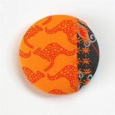 Fun-tastic Fabric Patchwork Button Brooch - Kangaroos on Orange with grevillea. | monkey & bee | madeit.com.au
