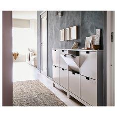 STÄLL Shoe cabinet with 4 compartments - white - IKEA - Home decor - Einrichtung Ikea Shoe Cabinet, Ikea Shoe Storage, Shoe Cabinets, Hallway Cabinet, Paint Storage, Storage Racks, Small Storage, Storage Room, Storage Ideas
