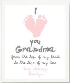"Grandma Gifts on Mother's Day for Her: Personalized ""I Love You Grandma From the Top of My Head to the Tips of My Toes"" Foot Print Artwork Print b..."