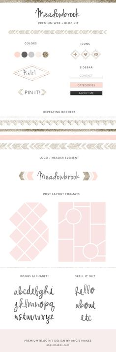 This Modern Premade Blog Kit Blog Kit, The Meadowbrook, Features a Modern Gold Glitter Texture and Modern Blog Elements. Perfect to Make Your Blog Shine!