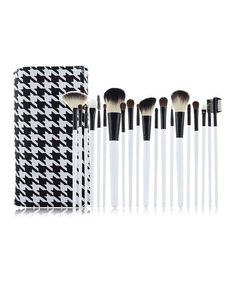 Take a look at the Houndstooth Makeup Pouch & Brush Set on #zulily today!