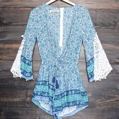 reverse - aqua blue boho print romper with crochet lace bell sleeves - shophearts - 1