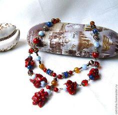Колье, бусы ручной работы. Ярмарка Мастеров - ручная работа Колье Коралловый остров (красное и синее тропическое ожерелье). Handmade.