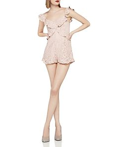 Designer Clothes, Shoes & Bags for Women Ruffle Jumpsuit, Ruffle Romper, Lace Ruffle, Pink Lace, Playsuit, White Lace Romper, Rompers Women, Bcbgeneration, Clothes For Women