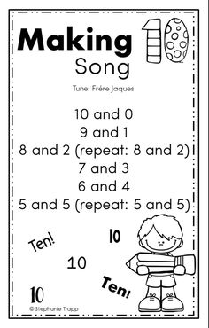 Ideas for making 10 activities to teach students math facts of numbers that add to make ten. Includes free printable making 10 game and song. Math Songs, Kindergarten Songs, Preschool Math, Kindergarten Classroom, Fun Math, Teaching Math, Kindergarten Math Journals, Subtraction Kindergarten, Classroom Ideas