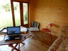 """The previous summer house needed upgrading so went via eBay to a new home. A new Auval arrived as a pile of logs and is now a garden glamping/office delight."" -John Kitchenman"