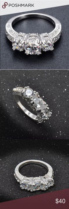 New Wedding Ring Brand new silver ring with three large stones and then side stones! Stones are all CZ and the ring is very beautiful! Sizes 6 or 8. Does not come with a box. Makes a nice promise ring. 😊 Jewelry Rings