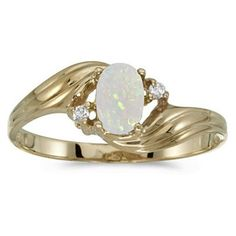 Opal Jewelry: 1/4ct Oval Opal And .02ct Diamond Ring in 10k Yellow Gold   Fine Gemstone Jewelry