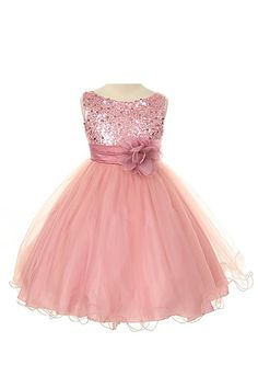 Sequin Bodice Tulle Special Occasion Holiday Flower Girl Dress - Dusty Rose