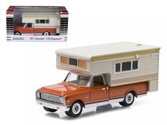 1971 Chevrolet C10 Cheyenne with Large Camper Hobby Exclusive 1/64 Diecast Model Car by Greenlight - Brand new 1:64 scale car model of 1971 Chevy C10 Cheyenne with Large Camper Hobby Exclusive die cast car model by Greenlight. Limited Edition. Brand New Box. Has Rubber Tires. Detailed Interior, Exterior. Metal Body and Chassis. Officially Licensed Product. Dimensions Approximately L-3 Inches Long.-Weight: 1. Height: 5. Width: 9. Box Weight: 1. Box Width: 9. Box Height: 5. Box Depth: 5