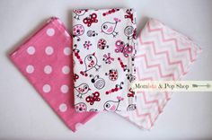 Flannel Baby Burp Cloth Gift Set Of 3 // pink polka dot, pink chevron, pink insects  by MomistaBeginnings
