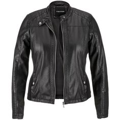 maurices Plus Size - Moto Jacket With Ribbed Knit Sides ($52) ❤ liked on Polyvore featuring black, plus size and maurices