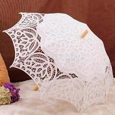 Lace Bridal Girls Parasol Wedding Party Umbrella Handmade Beige Photo Prop