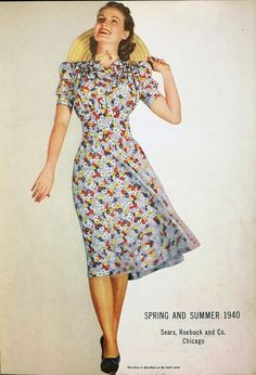 Floral Dress. The Girl with the Star-Spangled Heart: Spring and Hats 40s red white blue print dress hat shoes photo print ad model rayon day casual