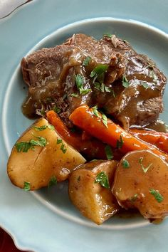 This slow cooker pot roast in the best pot roast recipe! Cook this easy pot roast dish using beef chuck roast, gravy mix, ranch dressing mix, Italian salad dressing mix, and carrots. You will love cooking this delicious beef crockpot recipe for lunch or dinner during the fall and winter! Easy Pot Roast, Beef Pot Roast, Slow Cooker Roast, Pot Roast Recipes, Entree Recipes, Meat Recipes, Slow Cooker Recipes, Cooking Recipes, Dinner Recipes