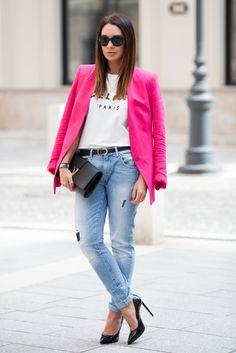 Bf jeans, celine paris tee, pink blazer & Yves Saint Lauren bag  From soif-pour-vogue.tumblr.com