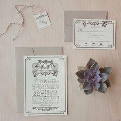 Vintage Wedding Invitations, Tandem Bicycle, rustic chic, vintage, victorian, bakers twine