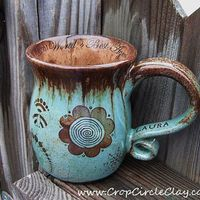 Personalized Ceramic Coffee Mug - Robin's Egg, Chocolate Brown, Aquamarine, Earthy, Hand Thrown Stoneware Pottery