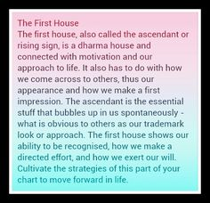 First house or ascendant in your natal or birth chart.