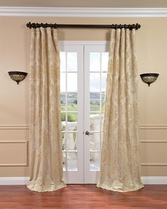Magdelena Champagne Faux Silk Jacquard Curtains - Overstock™ Shopping - Great Deals on EFF Curtains