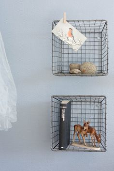 Retro wire baskets for shelving and storage? Amazing idea.